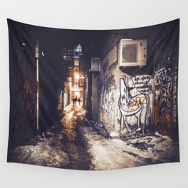 Lower East Side - Midnight Warmth on a Snowy Night Wall Tapestry