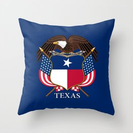 Texas flag and eagle crest concept Throw Pillow