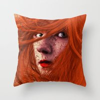 redhead Throw Pillows featuring redhead by Nuria Mrtz. FotoArt