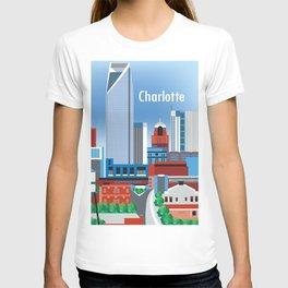 Charlotte, North Carolina - Skyline Illustration by Loose Petals T-shirt