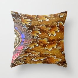Opalized Sutured Ammonite Throw Pillow