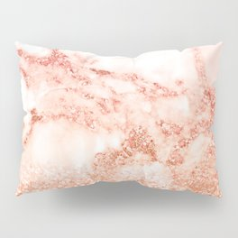 Sparkly Peach Copper Rose Gold Ombre Bohemian Marble Pillow Sham