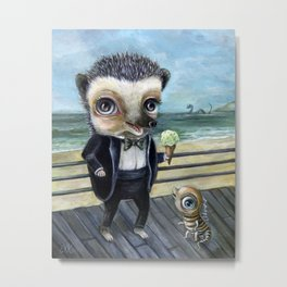 Ice Cream on the Beach with Hedgy Metal Print