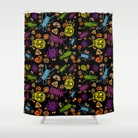 bugs Shower Curtains featuring Coloured Bugs by lindseyclare