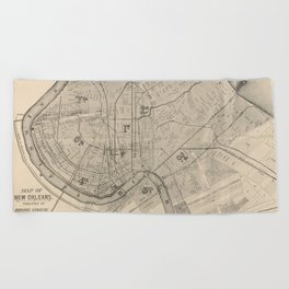 Vintage Map of New Orleans Louisiana (1885) Beach Towel
