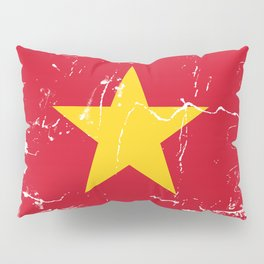 Vietnam Flag with Grunge effect Pillow Sham