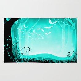 Dark Forest at Dawn in Aqua Rug