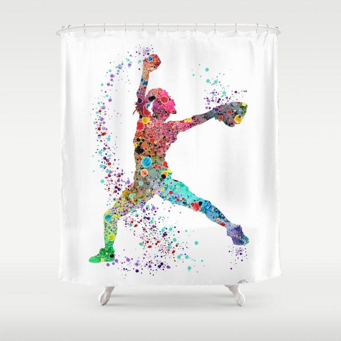 Baseball Softball Pitcher Watercolor Print Art Girls Painting Shower Curtain