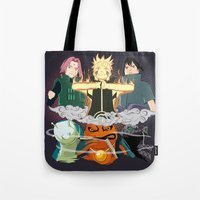 sasuke Tote Bags featuring Team 7 On the Move by rendhy wahyu