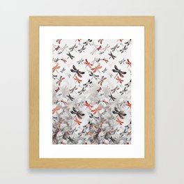 Dragonfly Lullaby in Marble and Rose Gold Framed Art Print