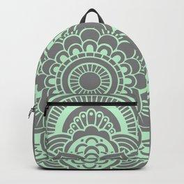 Mandala Flower Gray & Mint Backpack