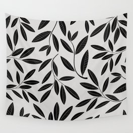 Black & White Plant Leaves Pattern Wall Tapestry
