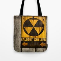 fallout Tote Bags featuring Fallout Shelter by Julie Maxwell