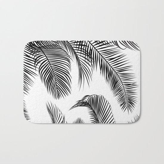 Black palm tree leaves pattern Bath Mat