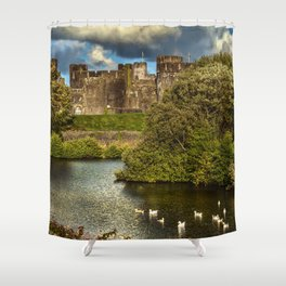 Caerphilly Castle Western Towers Shower Curtain