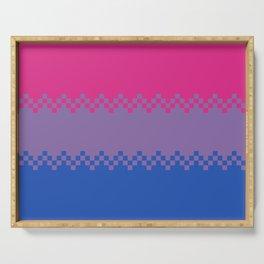 pixel pride- bi pride flag Serving Tray
