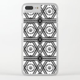 Geometric Black and White Panel Repeat Pattern Clear iPhone Case