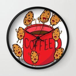 red COFFEE mug Wall Clock