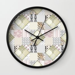 Patchwork in pastel colours Wall Clock