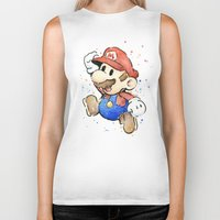 mario kart Biker Tanks featuring Mario Watercolor by Olechka