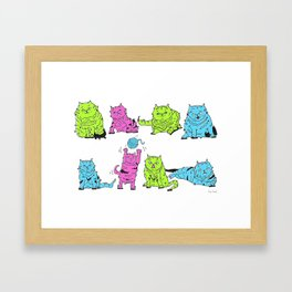 Fluro Cats Framed Art Print