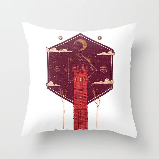 The Crimson Tower Throw Pillow