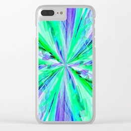 Blue/Green Feathery Abstract Clear iPhone Case