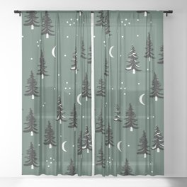 Christmas universe pine tree forest night Stars Moon Green Sheer Curtain