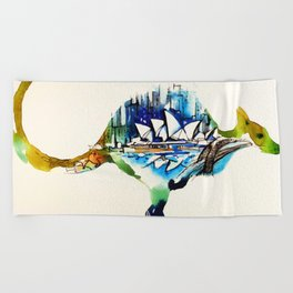 Australia City Skyline Vintage Travel Love Watercolor Beach Towel
