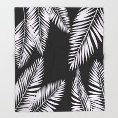 Watercolor tropical palm leaves black Throw Blanket