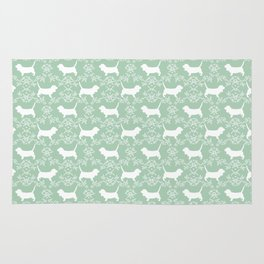 Basset Hound floral silhouette dog pattern minimal mint and white pet portraits Rug