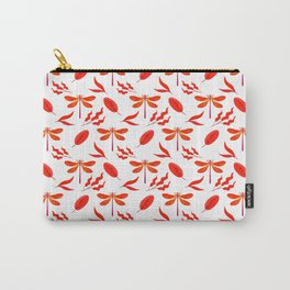Pretty beautiful red dragonflies, leaves elegant classy stylish white nature spring pattern Carry-All Pouch
