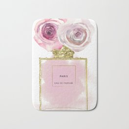 Pink & Gold Floral Fashion Perfume Bottle Bath Mat