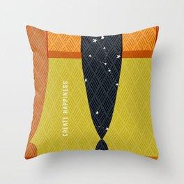 Create Happiness Modern Geometric Masculine Throw Pillow