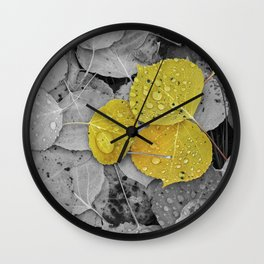 Colorized Aspen Leaves with Water Drops Wall Clock
