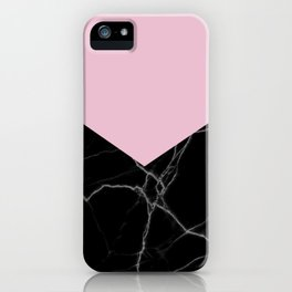 mauve and black marble iPhone Case