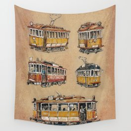Old vintage yelow trams -nostagic pubic transport Wall Tapestry