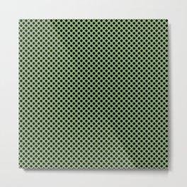 Green Tea and Black Polka Dots Metal Print