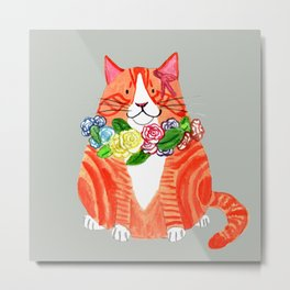 Marmalade Cat with Flower Crowns Metal Print