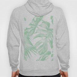 Light Green Tropical Palm Leaves Print Hoody