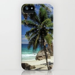A small beach on La Digue island, the Seychelles iPhone Case