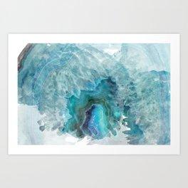 Blue Aqua Agate Art Print