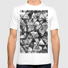 Triangular Whispers - Black and white, geometric abstract MEDIUM Mens Fitted Tee White