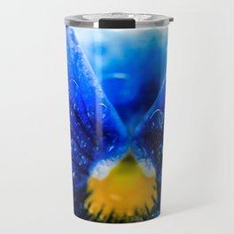 Blue Marigold with water drops Travel Mug