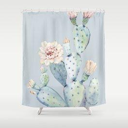 Prettiest Rose Cactus Blue Shower Curtain
