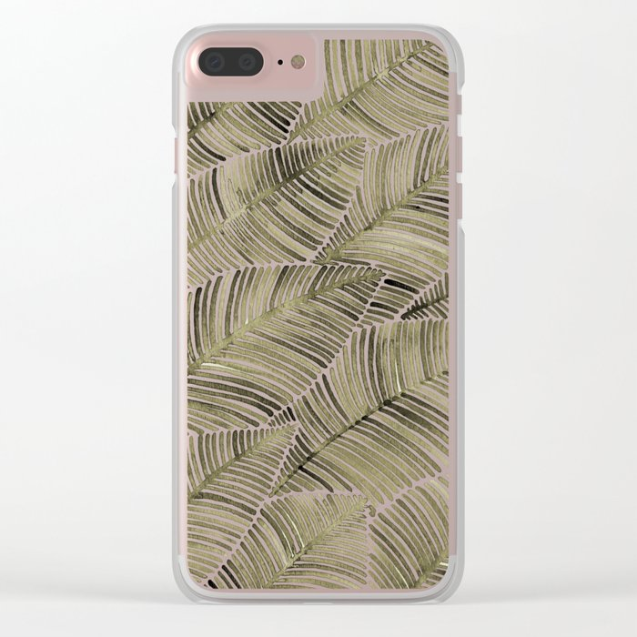Tropical Leaves – Taupe Palette Clear iPhone Case