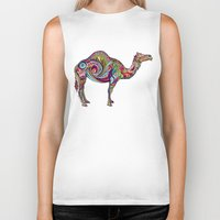 camel Biker Tanks featuring Camel by Green Girl Canvas