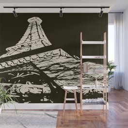 Eiffel Tower, Paris in black and white Wall Mural