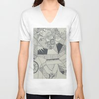 naked V-neck T-shirts featuring Naked by Annemiek Boonstra