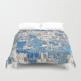 Multi Geometrical Pattern Faded Blues Duvet Cover